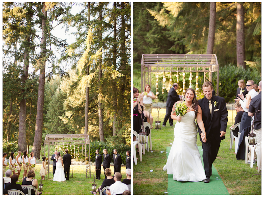 Wedding ceremony under tall evergreen fir trees.