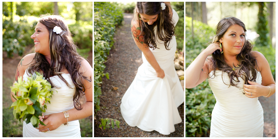Bride with red tropical flower shoulder tattoo.