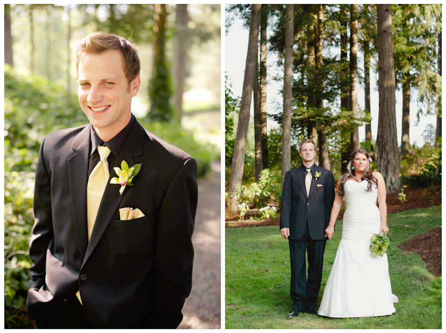 Groom with black suit and gold tie.