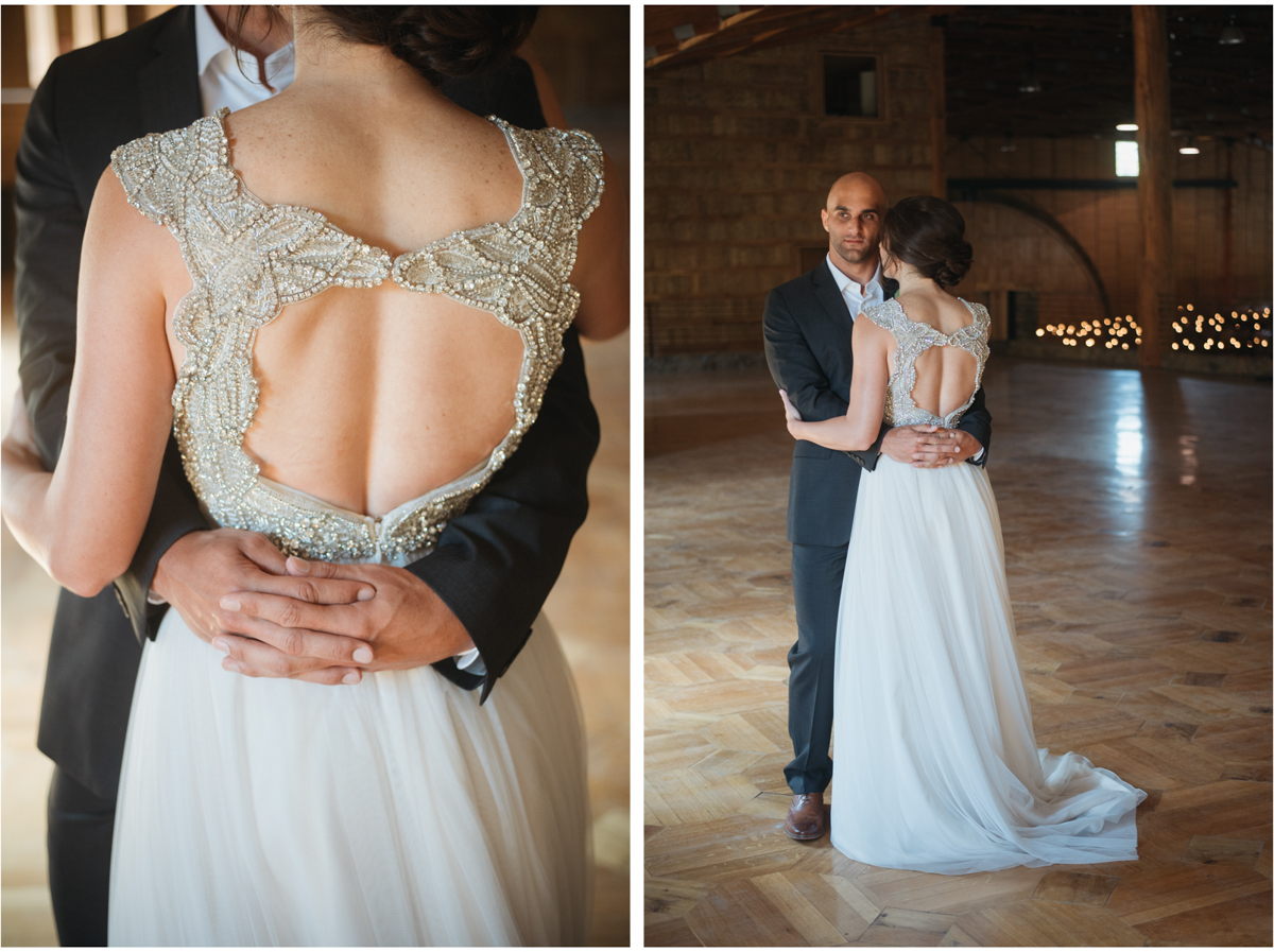 open back rhinestone wedding dress