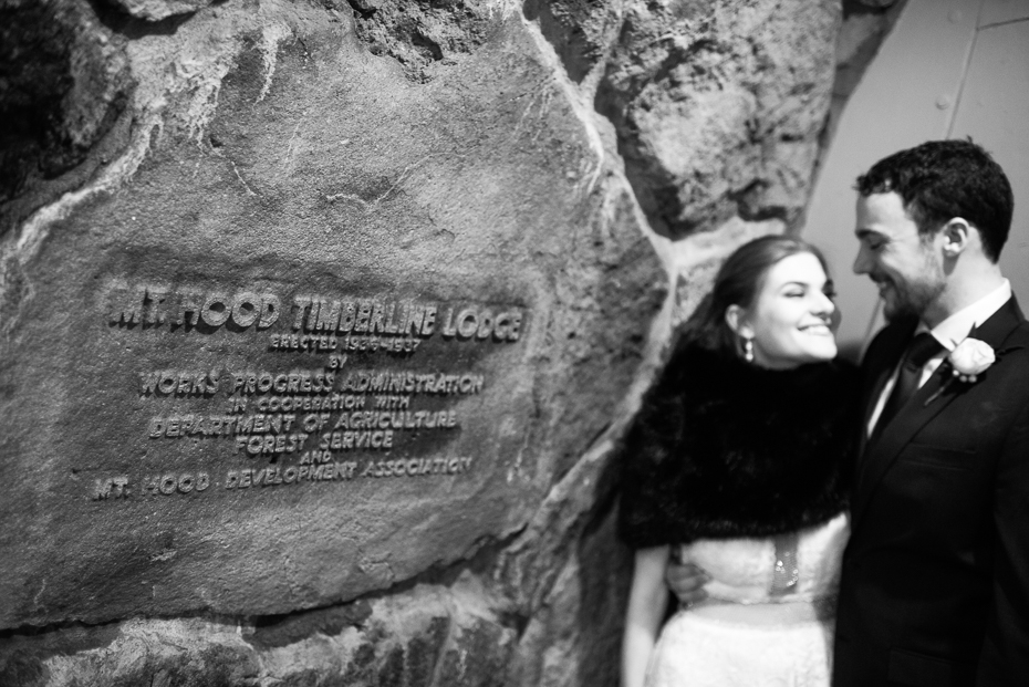 Intimate winter wedding at timberline lodge on mt. hood