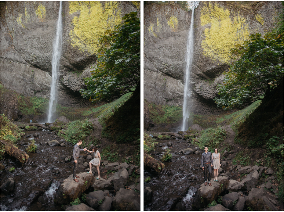 Latourell falls columbia river gorge engagement photos.