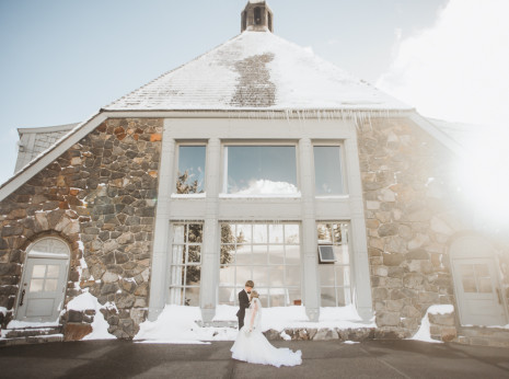 Timberline lodge winter wedding