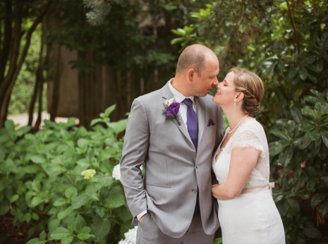 Bride and groom at East Fork Country Estate near Portland Oregon
