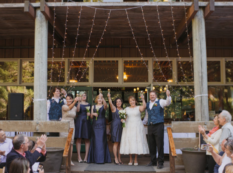 wedding party at Mazama Lodge in Government Camp, OR